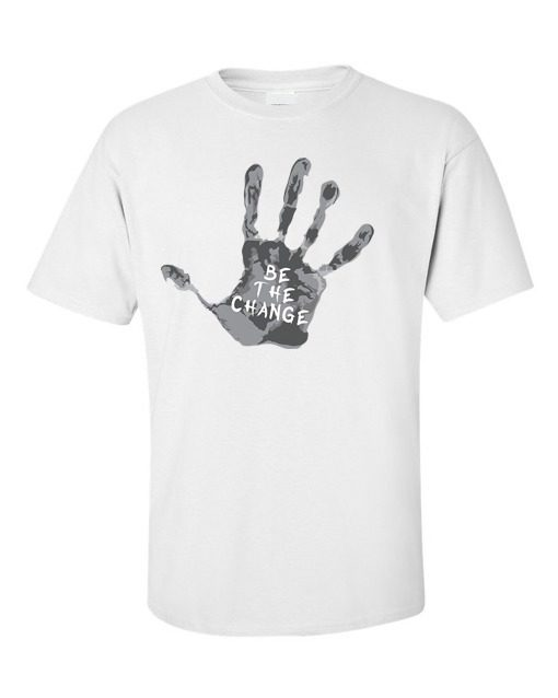 """Be the Change"" Palm Print T-Shirt White"