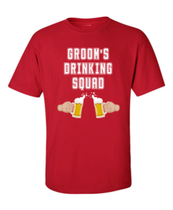 Grooms Drinking Red
