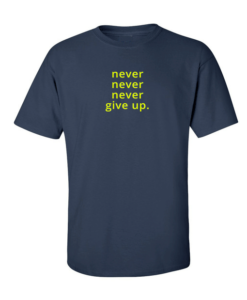 Never give up navy blue